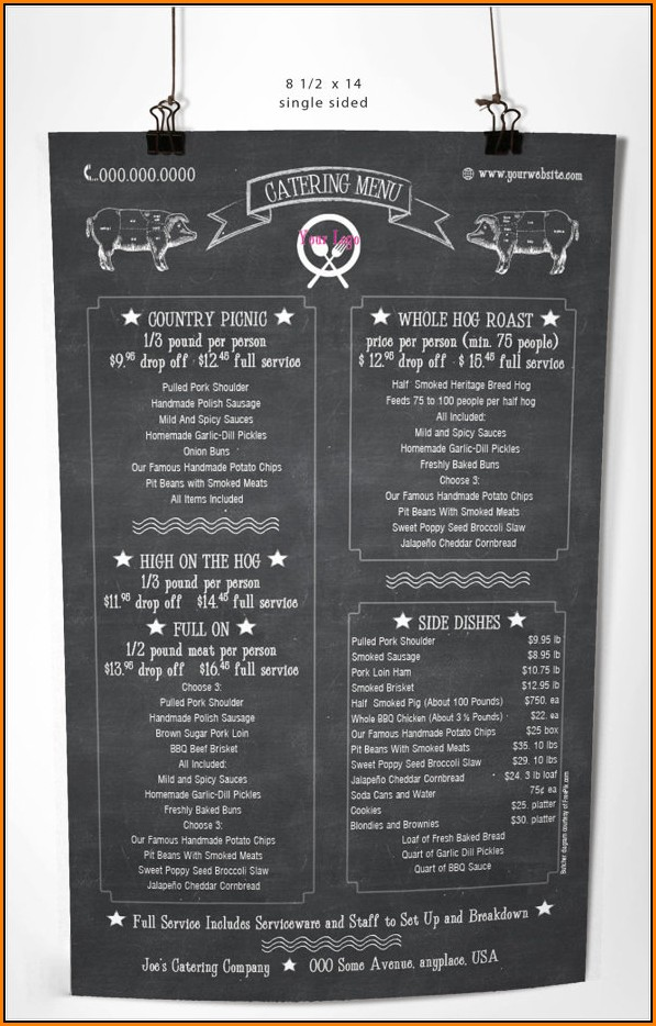 Catering Menu Template Free
