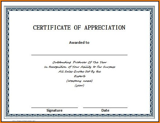 Certificate Of Appreciation Templates Free
