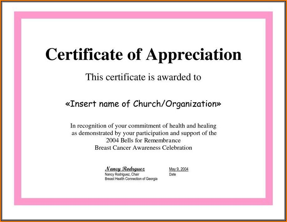 Certificate Of Recognition Template For Teachers