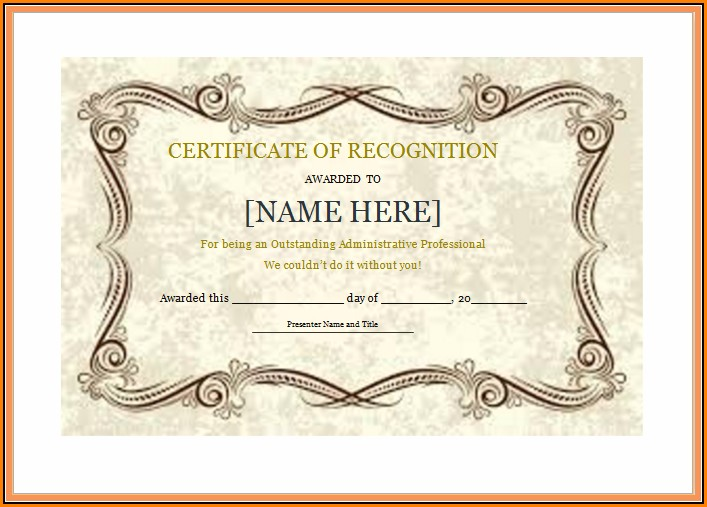 Certificate Of Recognition Template Png