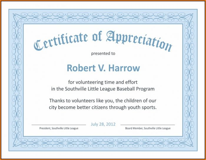 Certificate Of Recognition Templates For Word