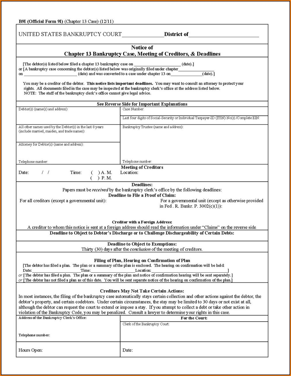 Chapter 7 Bankruptcy Forms Packet