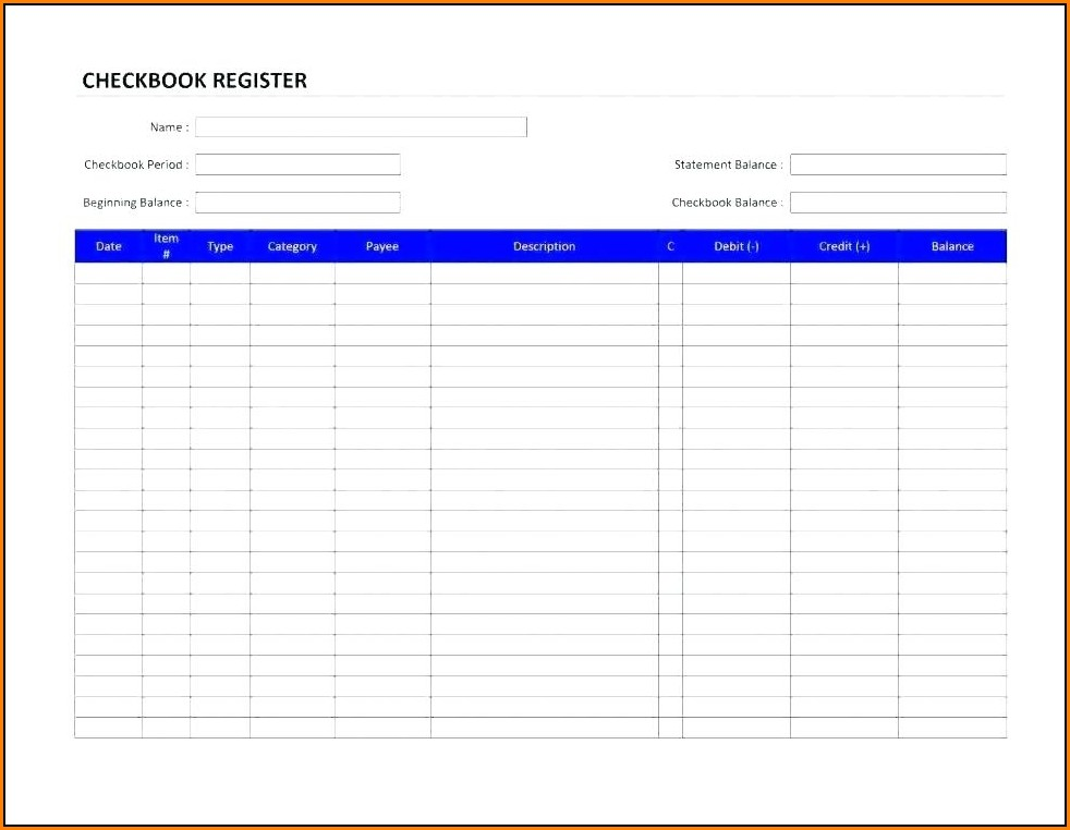 Checkbook Register Template For Mac