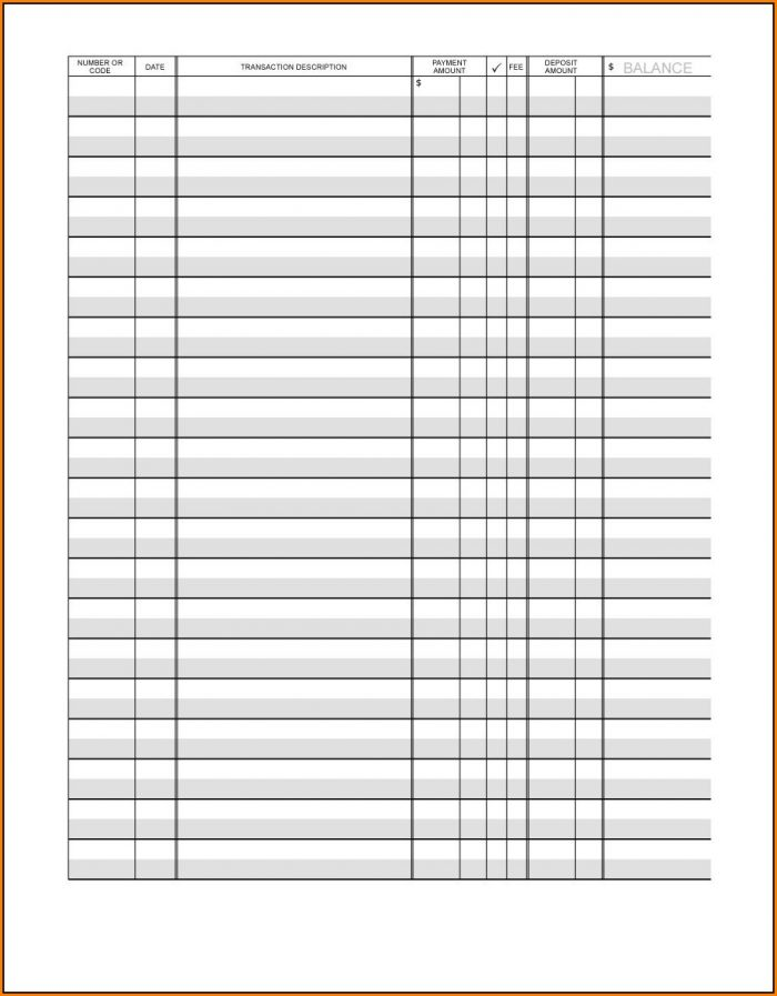 Checkbook Register Template Printable