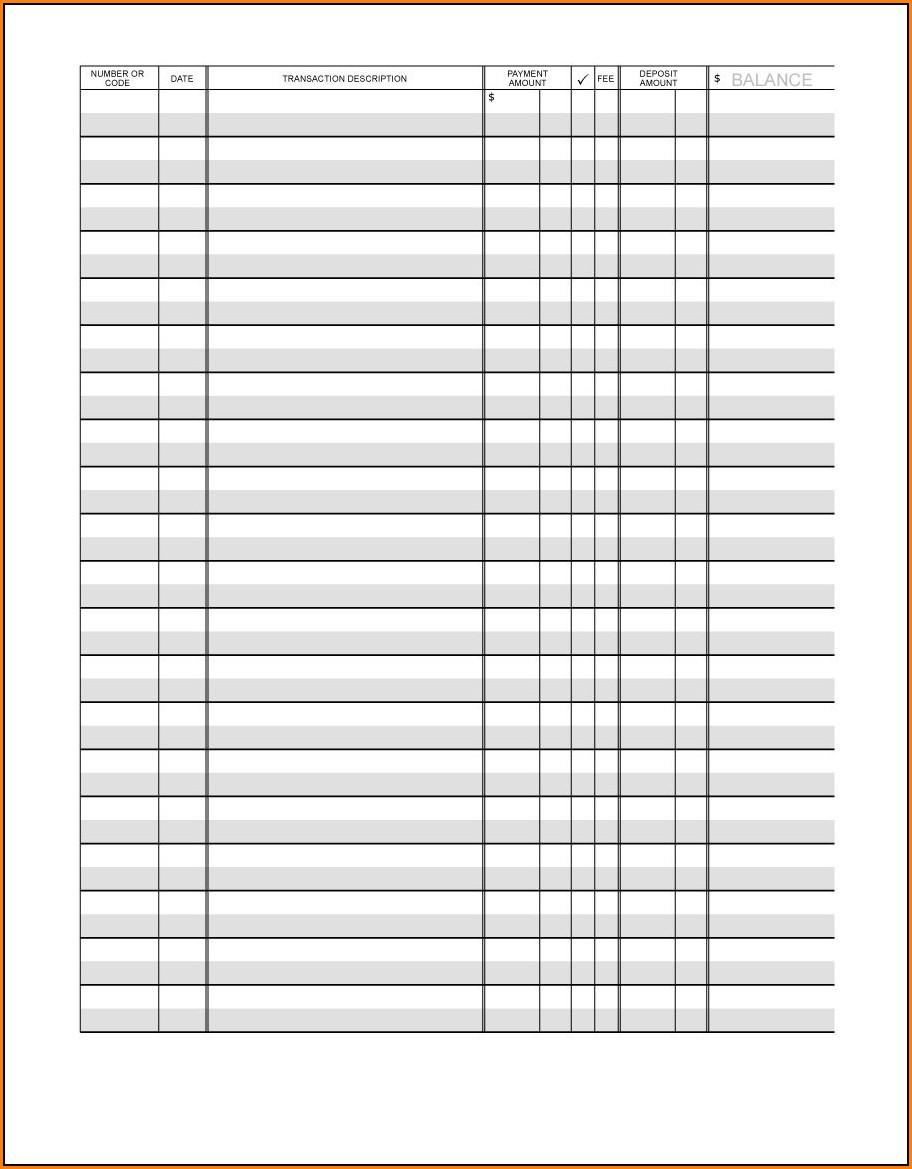 Checkbook Register Template Printable