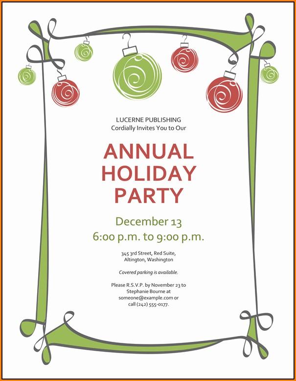 Christmas Invitation Templates Free Printable