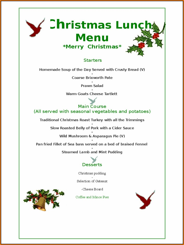 christmas menu templates free download word - template 1 : resume