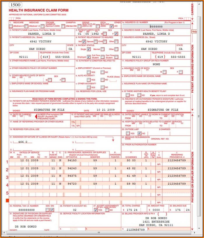 Cms 1500 Claim Form Sample