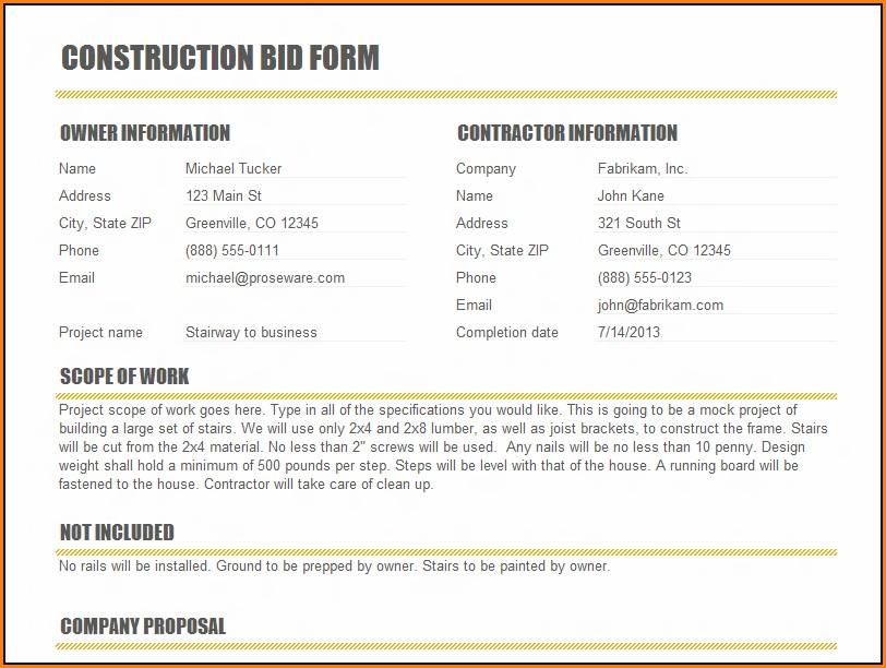Construction Bid Template Free Excel