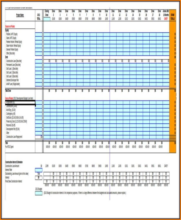 Construction Draw Schedule Template Excel