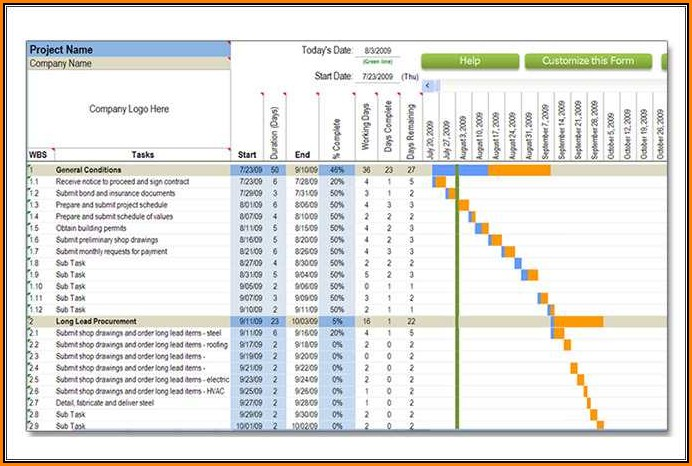 Construction Schedule Template Pdf