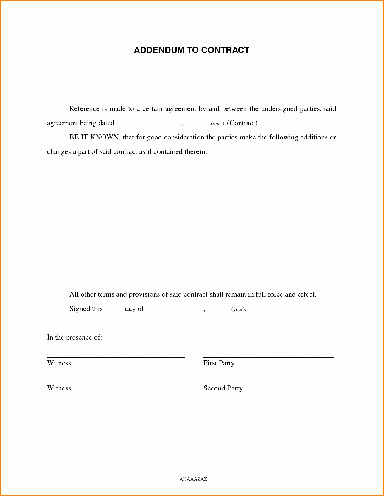 Contract Addendum Template Sample