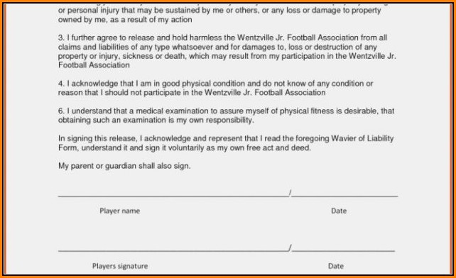 Contractor Release Of Liability Form Template