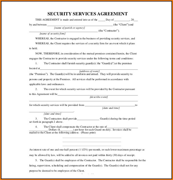 Contractor Service Agreement Template Free
