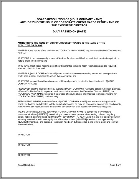 Corporate Resolution Template Microsoft Word