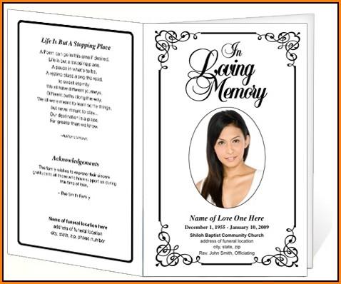 Cremation Memorial Service Program Template