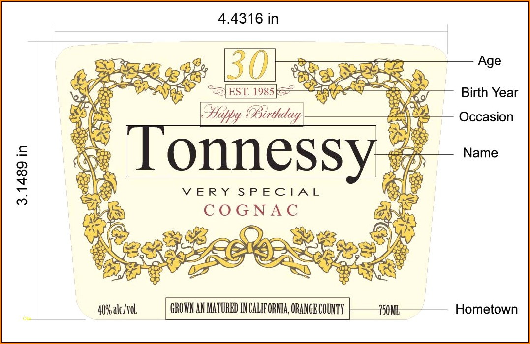 Custom Hennessy Label Template