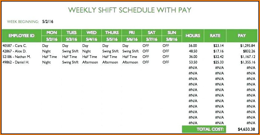 Daily Employee Schedule Template Excel