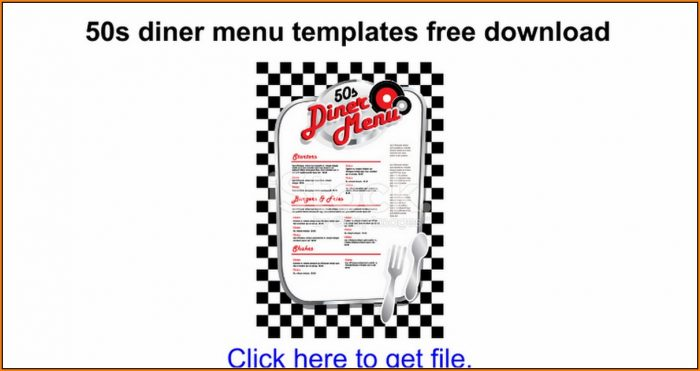 Diner Menu Templates Free Download