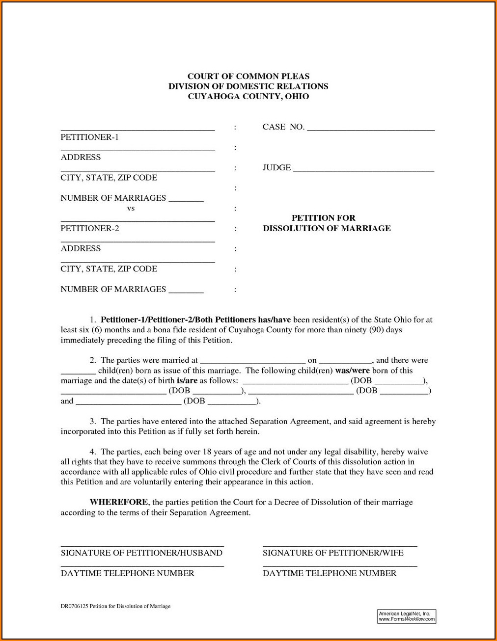 Dissolution Of Marriage Ohio Forms