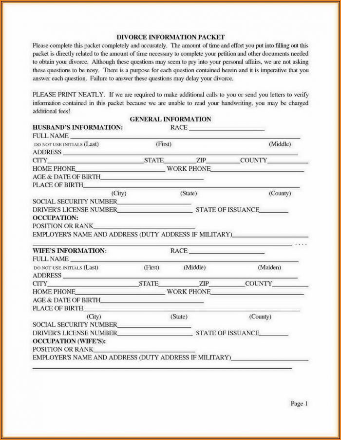 Divorce Forms Texas
