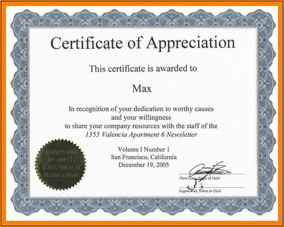 Downloadable Certificate Of Appreciation Templates