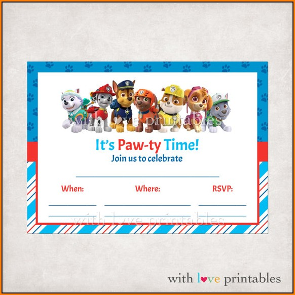 Downloadable Paw Patrol Invitation Template