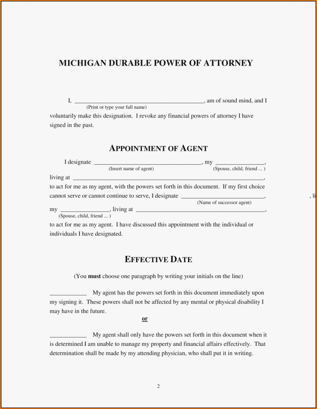 Durable Power Of Attorney Forms Michigan