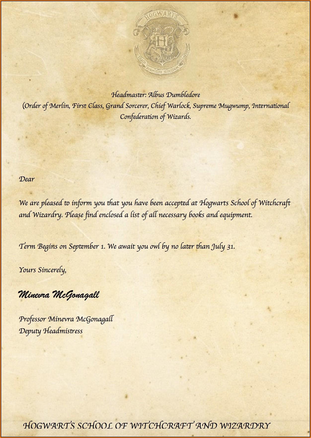 Editable Hogwarts Acceptance Letter Template