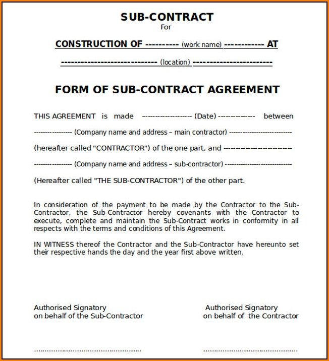 Electrical Subcontractor Agreement Template