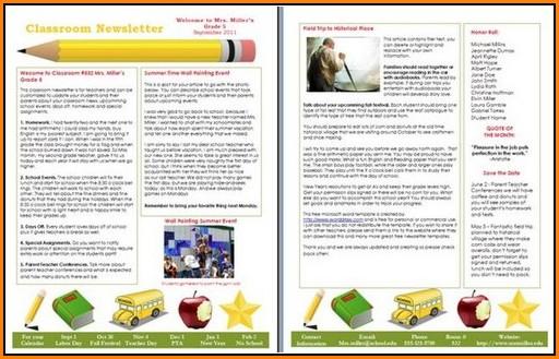 Elementary School Newsletter Templates Free