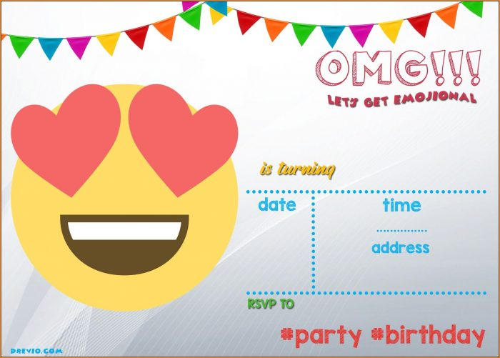 Emoji Invitation Template Printable