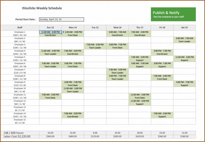 Employee Schedule Template Excel Free