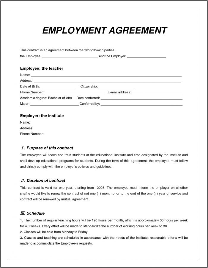 Employment Contract Template Word Format