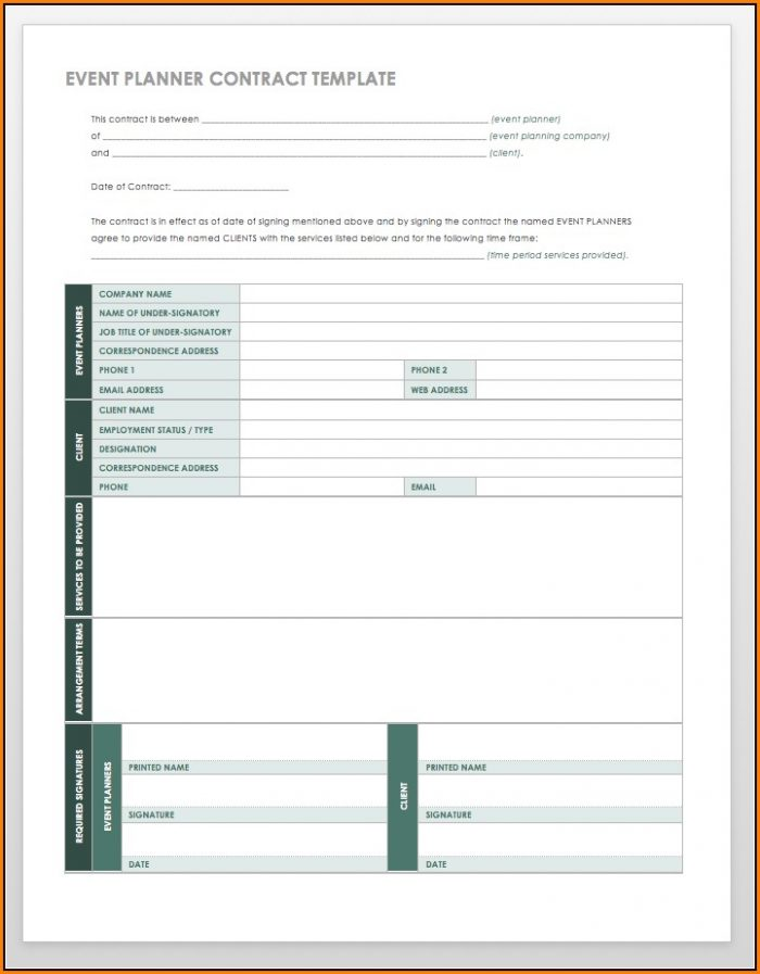 Event Planner Client Contract Template Template 1 Resume