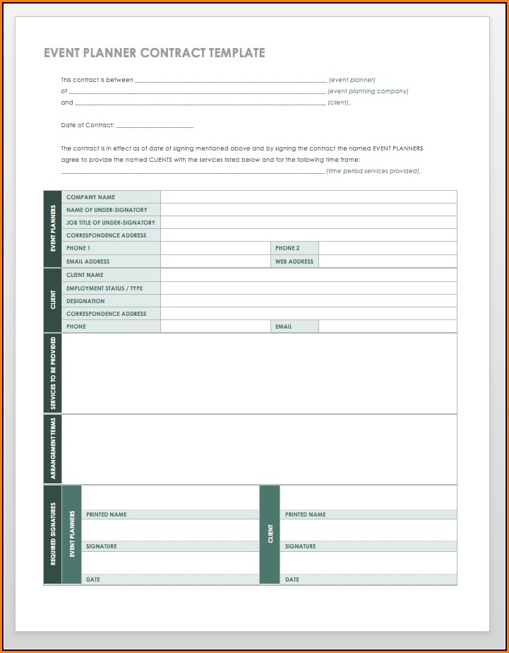 Event Planner Contract Word Template