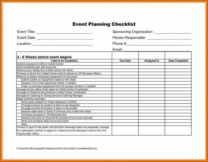 Event Planning Checklist Template Excel