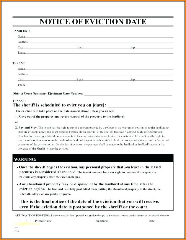 Eviction Letter Template Uk