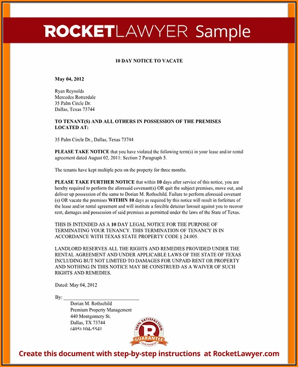 Eviction Notice Texas Free Form