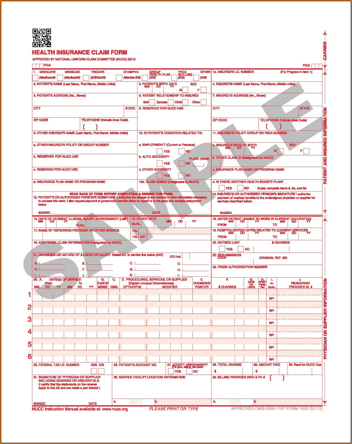 Example Of Hcfa 1500 Claim Form
