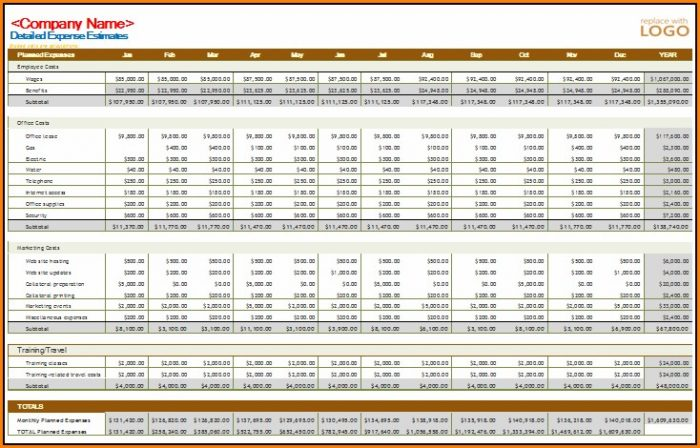 Excel Business Monthly Budget Template