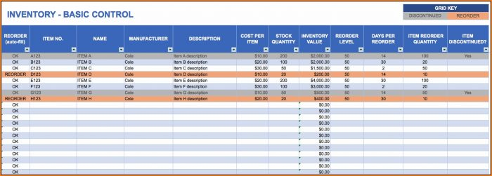 Excel Inventory Template With Formulas Free Download