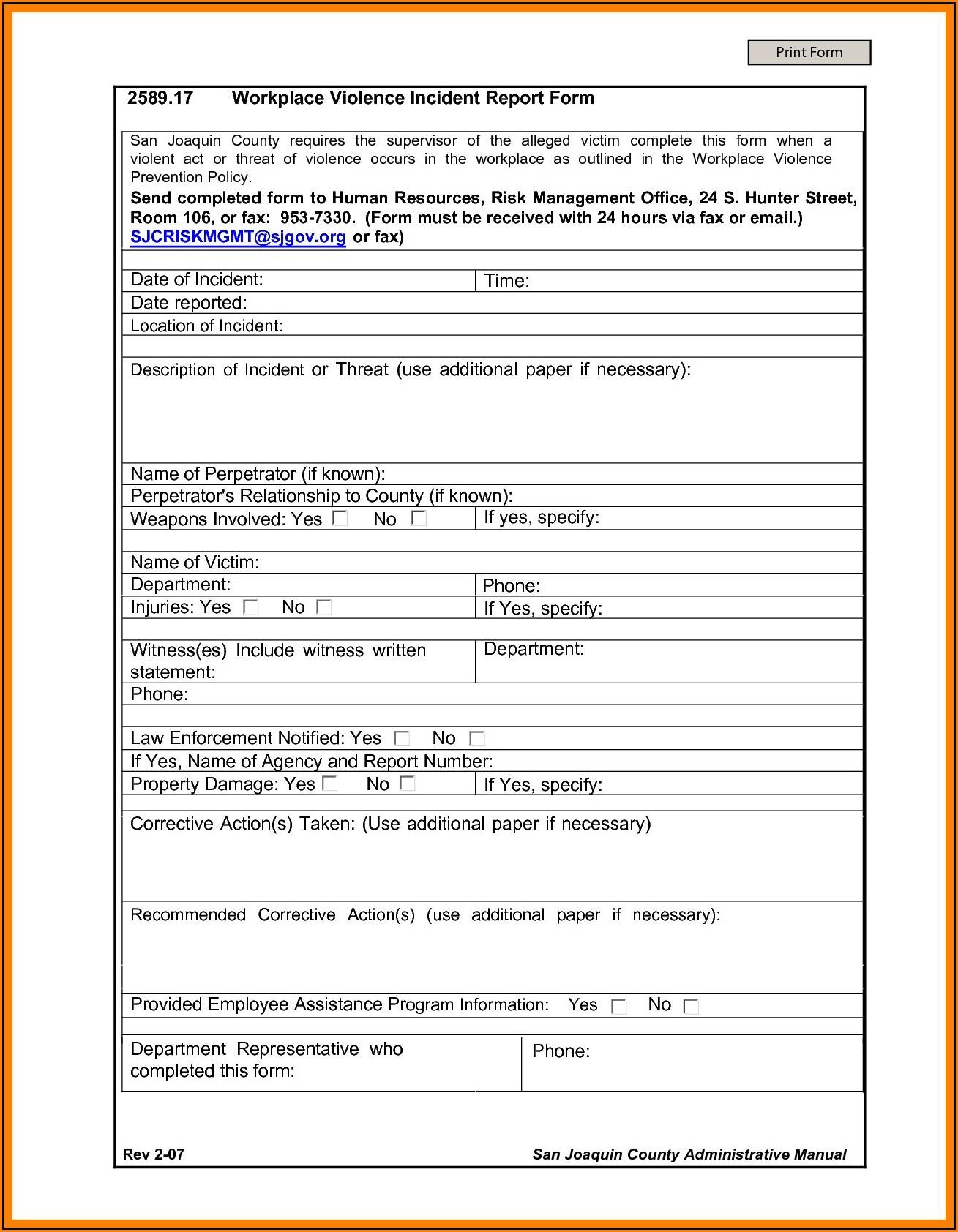 Exposure Incident Report Form Osha