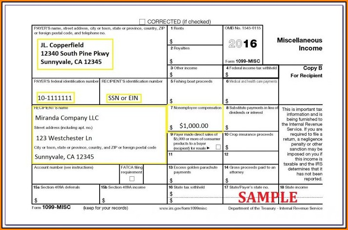 Fillable 1099 Misc Form 2015 Pdf