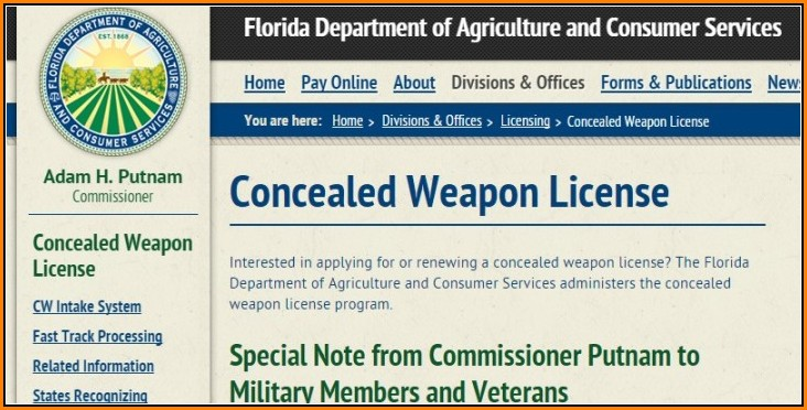 Florida Concealed Weapons Permit Application Form