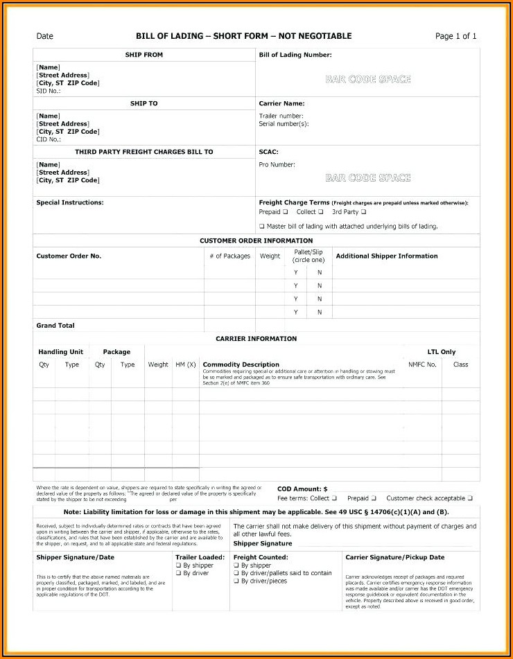 Free Blank Straight Bill Of Lading Short Form Pdf