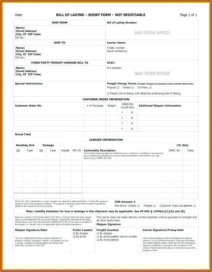Free Blank Straight Bill Of Lading Short Form Pdf