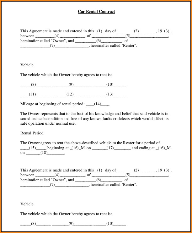 Free Car Rental Agreement Form