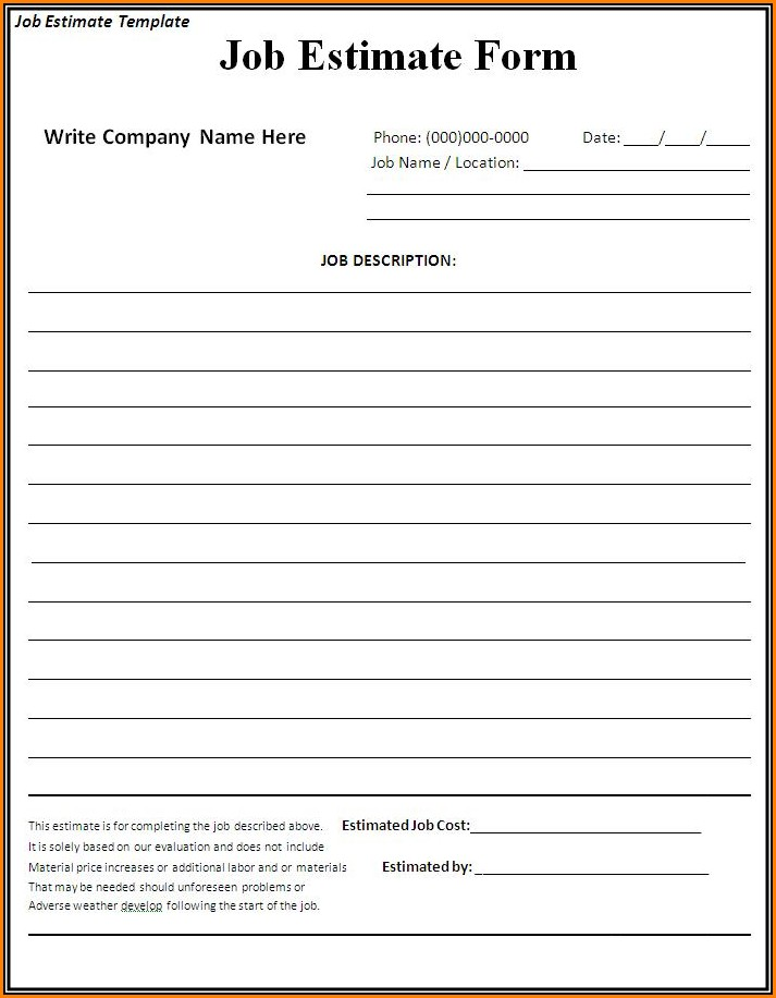 Free Contractor Estimate Forms