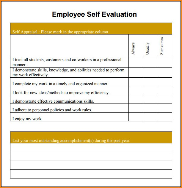 The Best Free Employee Self Evaluation Forms Printable Prescott Website